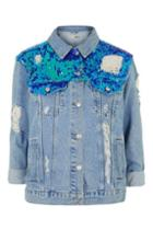 Topshop Moto Sequin Ripped Jacket