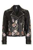 Topshop Petite Embroidered Leather Jacket
