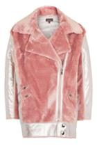 Topshop Metallic Faux Fur Biker Jacket