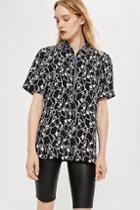 Topshop *zip Utility Shirt By Boutique