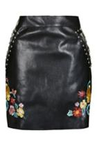 Topshop *floral Embroidered Leather Skirt By Glamorous