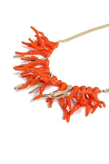 Topshop *coral Collar Necklace