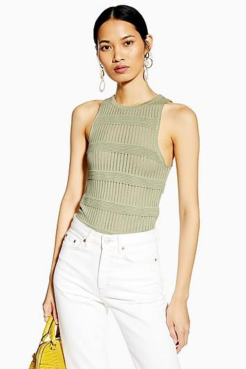 Topshop Sage Ottoman Knitted Rib Tank Top