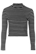 Topshop Stripe Funnel Neck Top