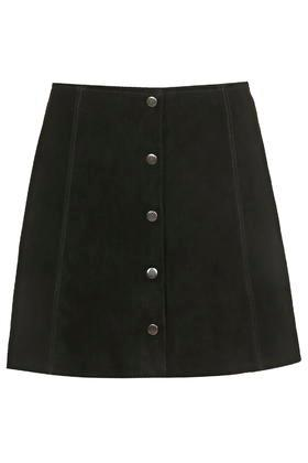 Topshop Tall Suede Button Front A-line Skirt