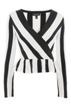 Topshop Stripe Peplum Knitted Top