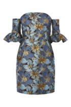 Topshop Petite Jacquard Bardot Dress