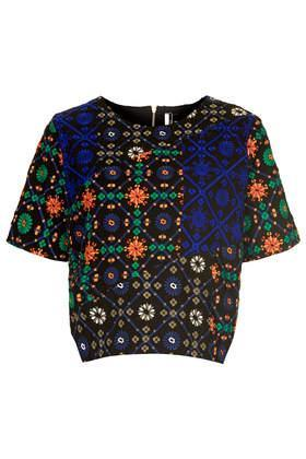 Topshop **limited Edition Embroidered Multi Tile Print Tee
