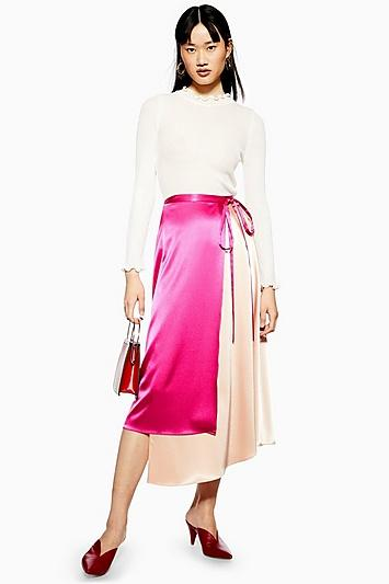 Topshop Colour Block Satin Midi Skirt