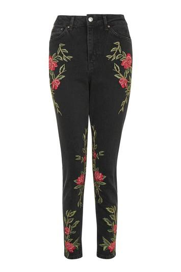Topshop Petite Rose Embroidered Mom Jeans
