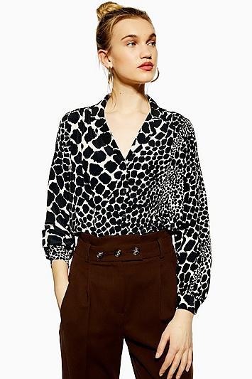 Topshop Giraffe Print Shirt