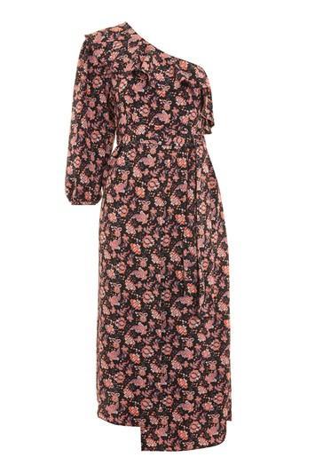 Topshop One Shoulder Paisley Print Midi Skater Dress