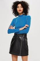 Topshop Glitter Funnel Neck Top