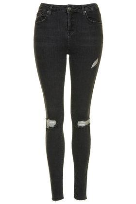 Topshop Tall Moto Washed Black Ripped Jamie Jeans