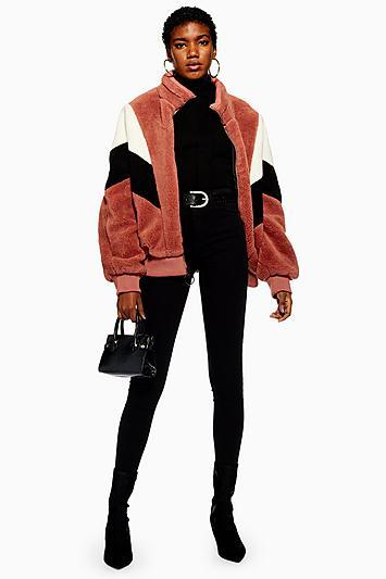 Topshop Colour Block Faux Fur Jacket By Story Of Lola