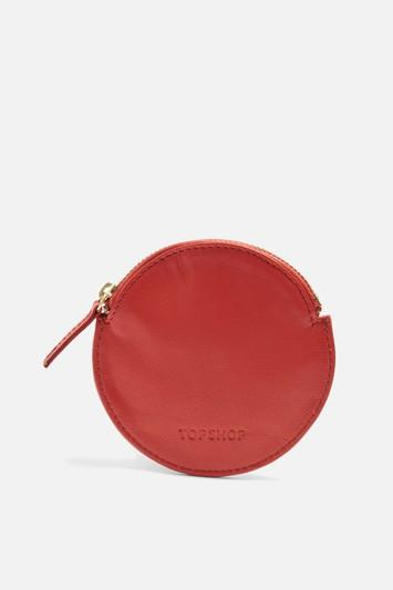 Topshop Leather Round Pat Purse