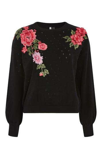 Topshop Stitchy Patch Embroidered Jumper