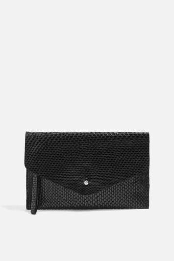 Topshop Leather Faux Snake Envelope Purse