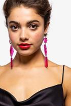 Topshop Fuchsia Resin Bead Drop Earrings