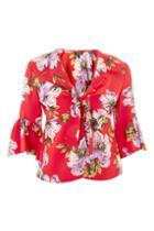 Topshop Floral Print Tie Blouse