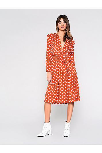 Topshop *polakdot Midi Dress By Glamorous