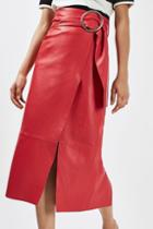 Topshop Leather Belted Pencil Skirt By Boutique