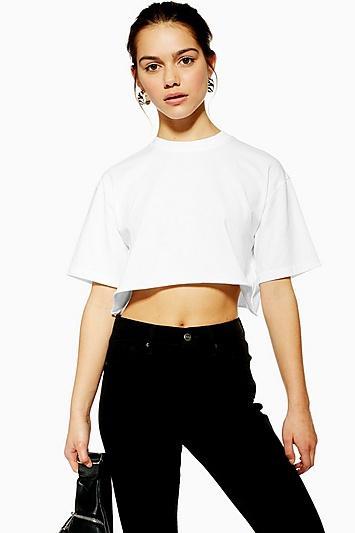 Topshop Petite Washed Crop T-shirt