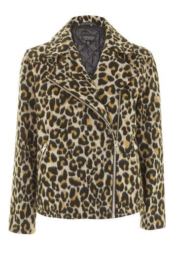 Topshop Animal Print Biker Jacket