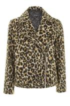 Topshop Animal Print Biker Jacket