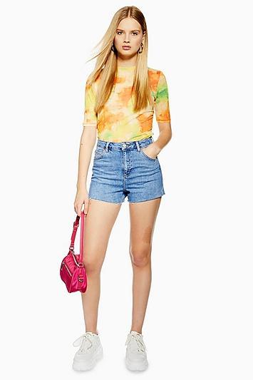 Topshop Petite Premium Denim Mom Shorts