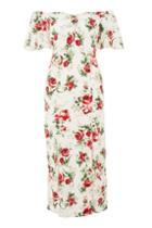 Topshop Rose Print Bardot Midi Dress