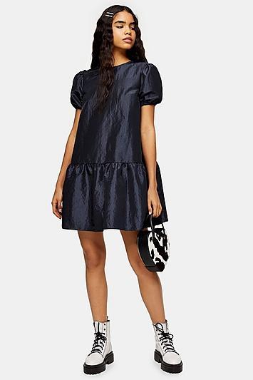 Topshop Black Taffeta Puff Sleeve Mini Dress
