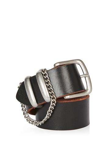 Topshop Chain Detail Real Leather Belt