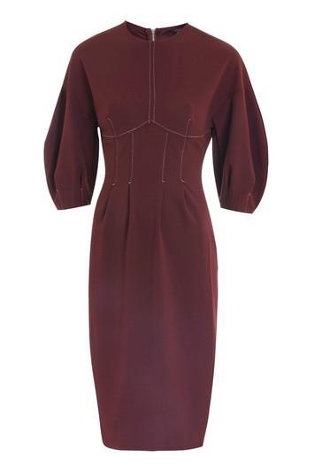 Topshop Balloon Sleeve Stitch Midi Dress