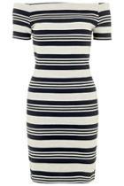 Topshop Striped Bardot Bodycon Dress