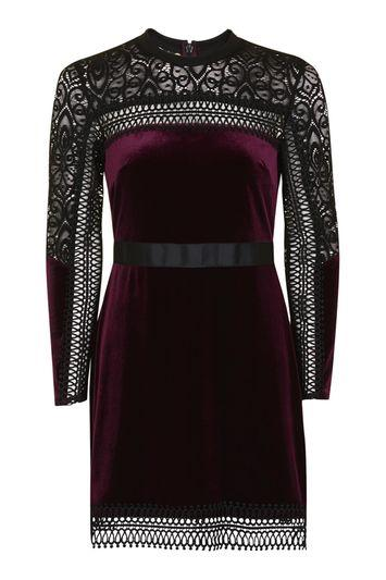 Topshop Tall Velvet Lace Trim Aline Dress