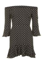 Topshop Spot Frill Bardot Dress
