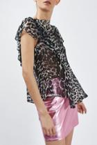 Topshop Leopard Ruffle Top By Boutique