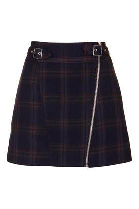 Topshop Check Biker Skirt