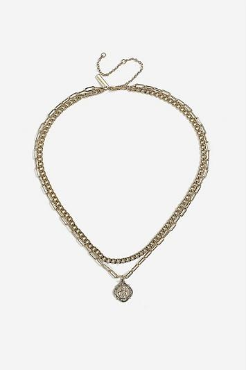 Topshop *coin And Chain Multirow Necklace