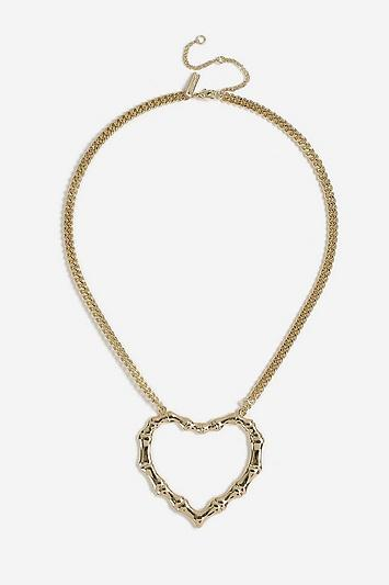 Topshop *bamboo Heart Necklace