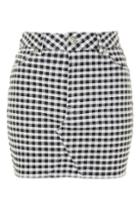 Topshop Petite Gingham Short Line Skirt
