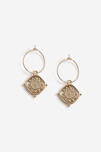 Topshop Coin Drop Hoop Earrings