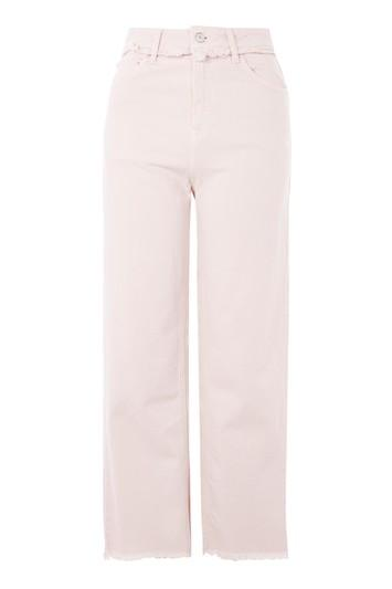 Topshop Moto Pink Cropped Wide Leg Jeans