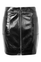 Topshop Tall Vinyl Zip Mini Skirt
