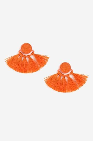 Topshop Orange Swirl Tassel Earrings
