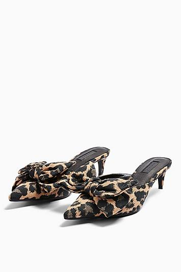 Topshop Jazz Leopard Bow Mid Mules