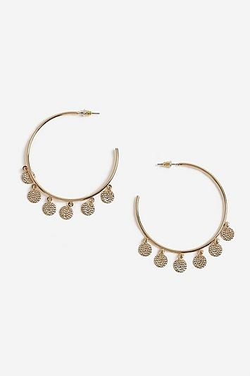 Topshop Oversized Coin Edge Hoop Earrings