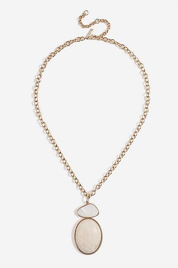 Topshop *shell Disc Drop Necklace