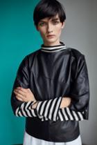 Topshop Stripe Cut Cuff Top By Boutique